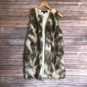 Almost Famous faux fur cotton blend vest